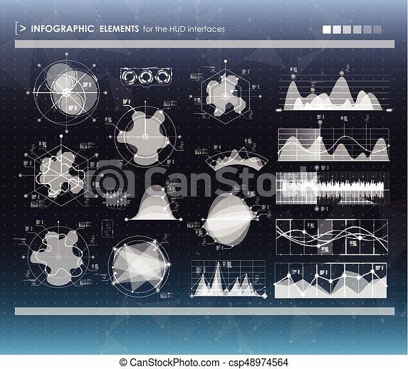 hud, ensemble, elements., infographic, interface utilisateur, futuriste - csp48974564