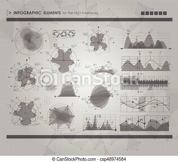 hud, ensemble, elements., infographic, interface utilisateur, futuriste - csp48974584