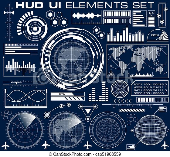 hud, graphique, ensemble, interface utilisateur, futuriste - csp51908559