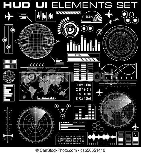 hud, graphique, ensemble, interface utilisateur, futuriste - csp50651410