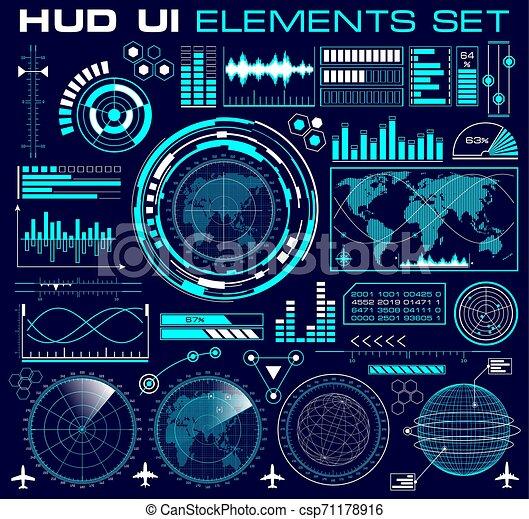 hud, graphique, ensemble, interface utilisateur, futuriste - csp71178916