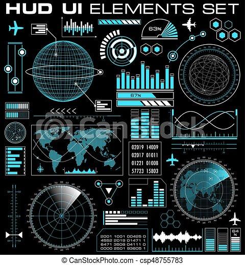 hud, graphique, ensemble, interface utilisateur, futuriste - csp48755783