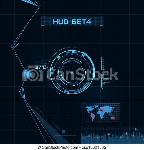 hud, gui, ユーザー, interface., set., 未来派 - csp18621585