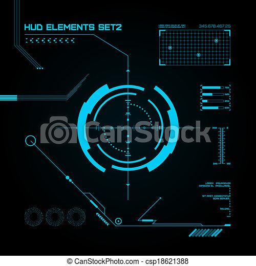 hud, gui, utilisateur, interface., set., futuriste - csp18621388