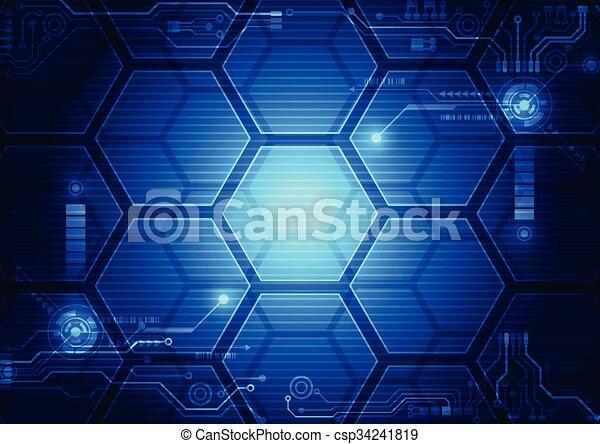 hud, résumé, illustration, arrière-plan., vecteur, interface, technologie, futuriste - csp34241819