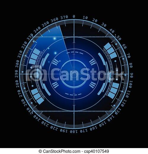 hud., radar, technologie, eps10., screen., illustration, ton, arrière-plan., vecteur, utilisateur, interface., scanning., exposer, futuriste, design. - csp40107549