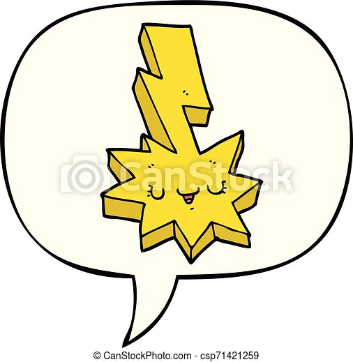 Un rayo de dibujos animados y una burbuja de habla - csp71421259