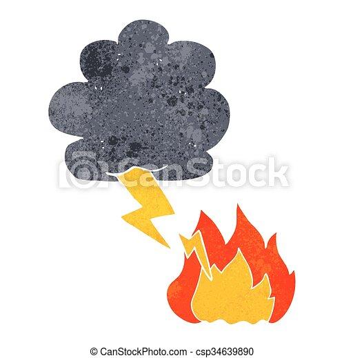 Retro caricatura rayo cayó - csp34639890