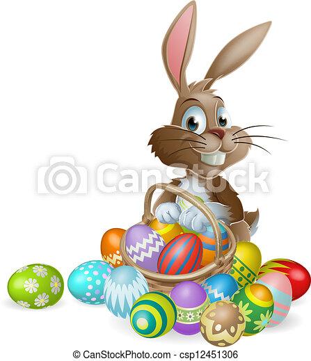 Conejo de Pascua con huevo de Pascua - csp12451306