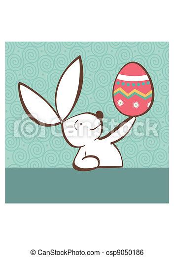 huevo pintado, conejito de pascua - csp9050186
