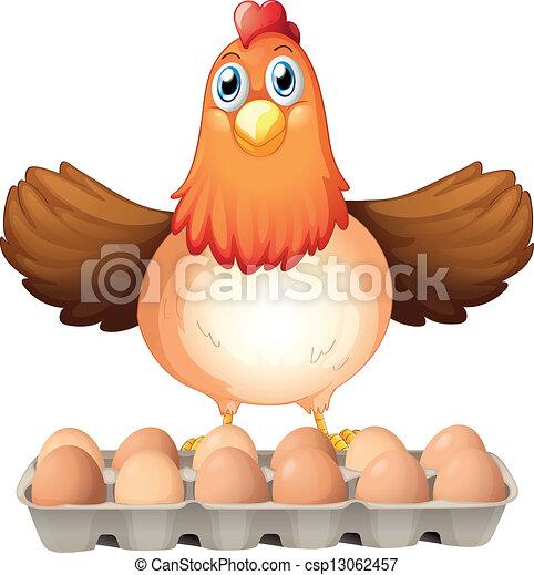 Una docena de huevos y la gallina madre - csp13062457