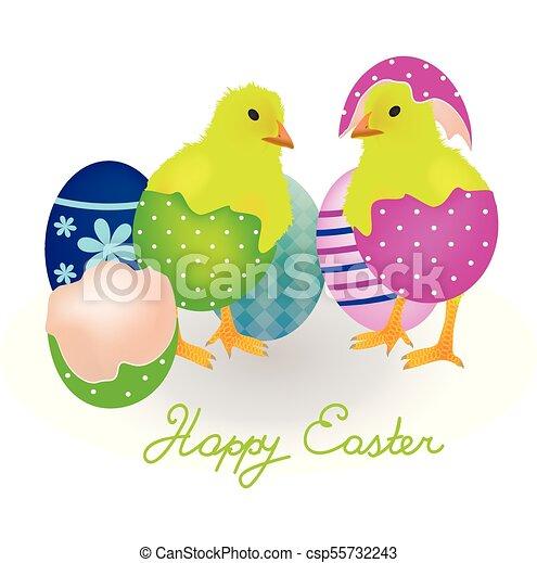 Dos pollos viniendo de huevos de Pascua - csp55732243