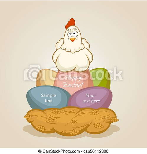 Huevos de Pascua y gallina - csp56112308