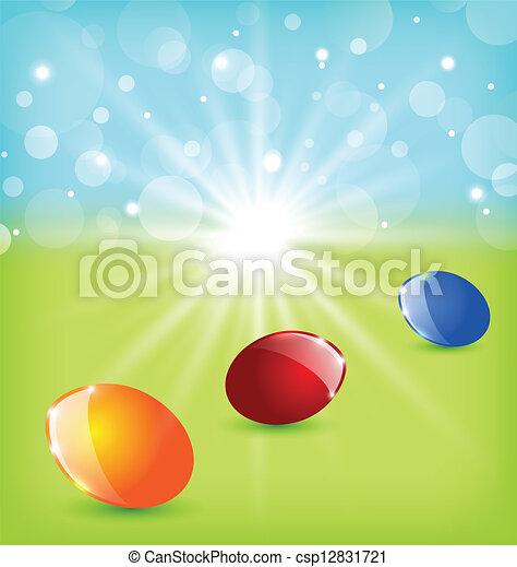 huevos, pascua, plano de fondo, colorido - csp12831721