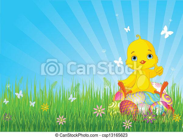 Una chica de Pascua sentada en huevos - csp13165623