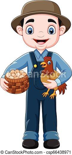 Granjero de dibujos animados sosteniendo pollo y una canasta de huevos - csp66438971