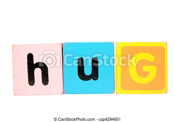 hug in toy play block letters on white - csp4294651