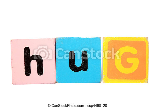 hug in toy play block letters on white - csp4490120