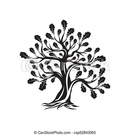 Huge And Sacred Oak Tree Silhouette Logo Isolated On White