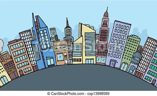 Huge cartoon city skyline - csp13998589