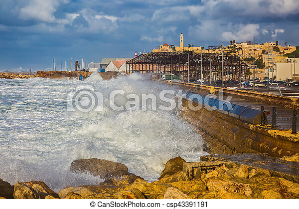 Huge foamy waves fight about the coast - csp43391191