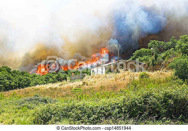 Huge forest fire threatens homes in Portugal - csp14851944