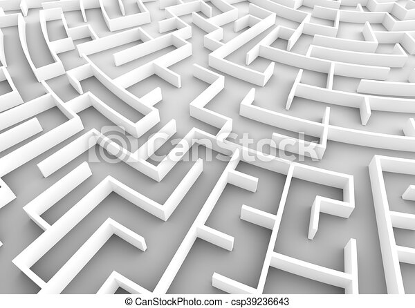 Huge maze  Business strategy concepts, challenge, problem solving etc