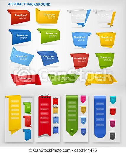 Huge set of colorful origami paper  - csp8144475