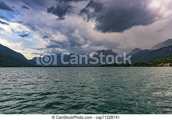 Huge Thunderstorm over Annecy lake, France. - csp71228741