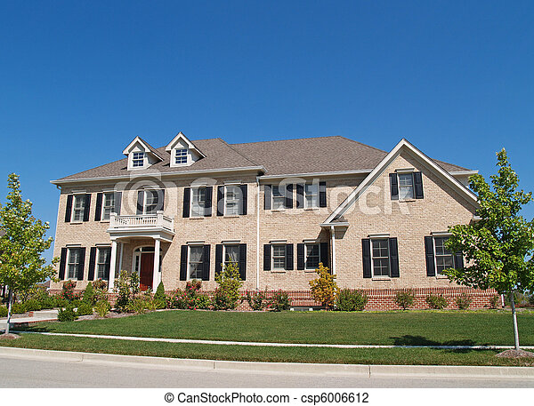 Huge Two Story Brick Home - csp6006612
