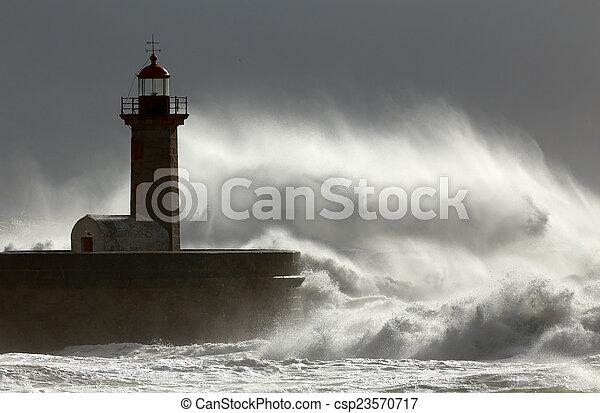 Huge windy wave - csp23570717