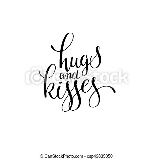 Hugs And Kisses Black And White Hand Written Lettering Romantic