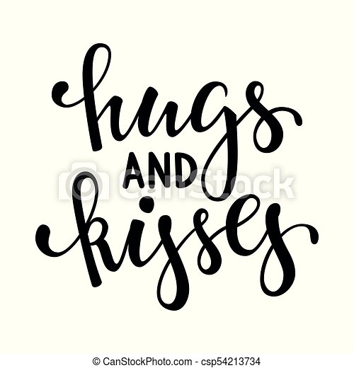 hugs and kisses hand drawn creative calligraphy and brush rh canstockphoto com free clipart hugs and kisses