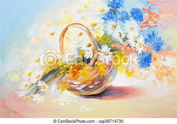 Huile bouquet printemps r sum fleurs peinture for Bouquet de fleurs printemps