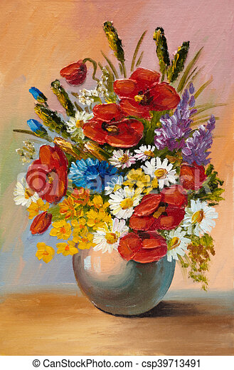 huile canevas printemps r sum vase fleurs peinture illustration de stock. Black Bedroom Furniture Sets. Home Design Ideas