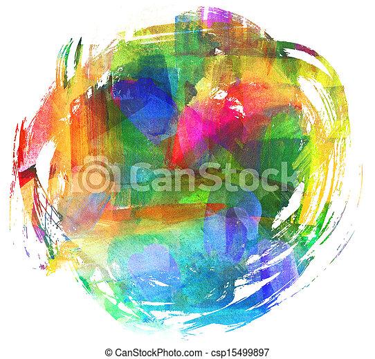 huile, résumé, brouillé, spot., freehand, painting., dessin, blot. - csp15499897