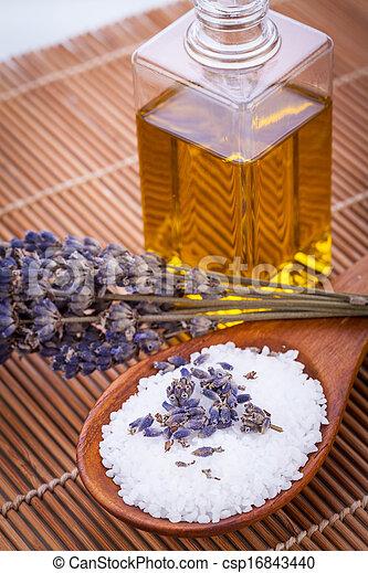 huile, wellness, lavande, arôme, thérapie, sel bain, masage - csp16843440