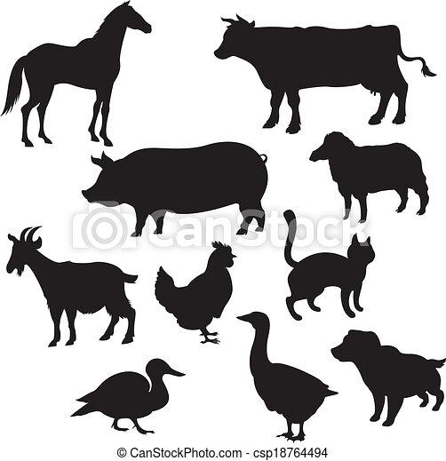 huiselijk, silhouettes, dieren - csp18764494