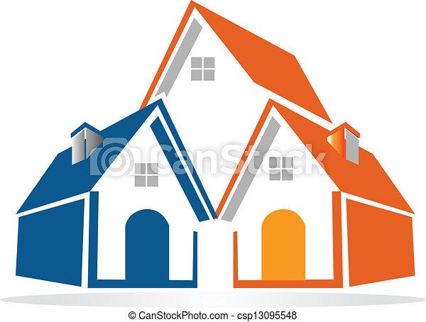 huisen, vector, groep, logo - csp13095548