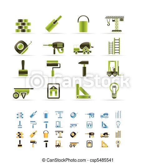 huizenbouw, iconen - csp5485541
