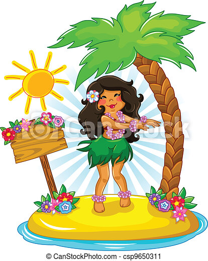hula girl girl dancing hula on a tropical island rh canstockphoto com hula girl clipart black and white cartoon hula girl clipart