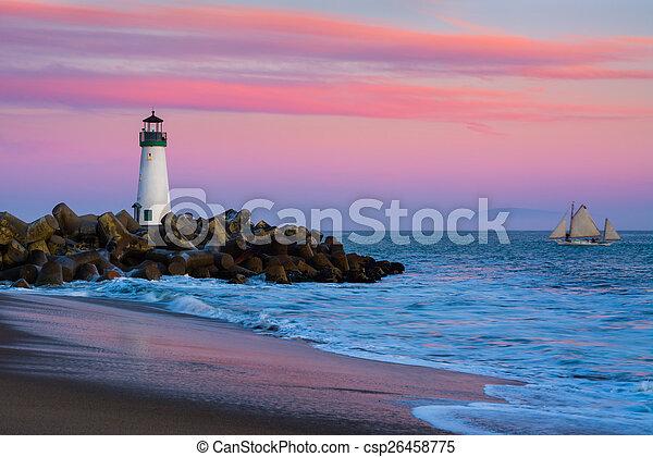 hullámtörő gát, cruz, világítótorony, szent - csp26458775
