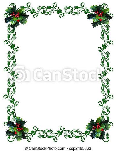 hulst, grens, kerstmis - csp2465863