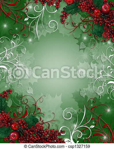 hulst, kerstmis, achtergrond, besjes - csp1327159