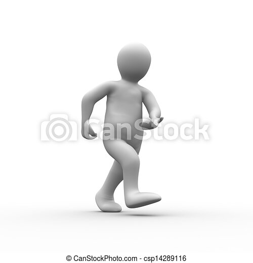 humain, blanc, figure, marche - csp14289116