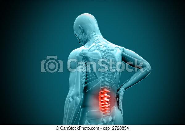 humain, douleur, frottement, numérique, bleu, dos, mis valeur - csp12728854