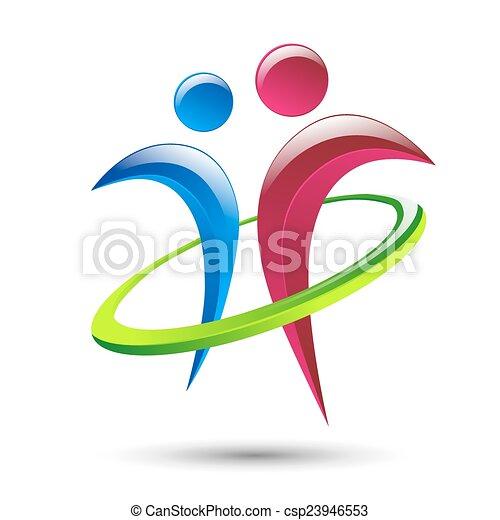 humain, résumé, vecteur, figures, gabarit, logo - csp23946553