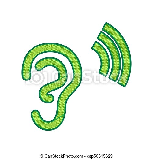 Human anatomy. Ear sign with soundwave. Vector. Lemon scribble icon on white background. Isolated - csp50615623
