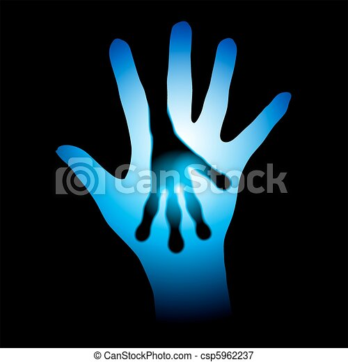 Human and Alien hands silhouette - csp5962237