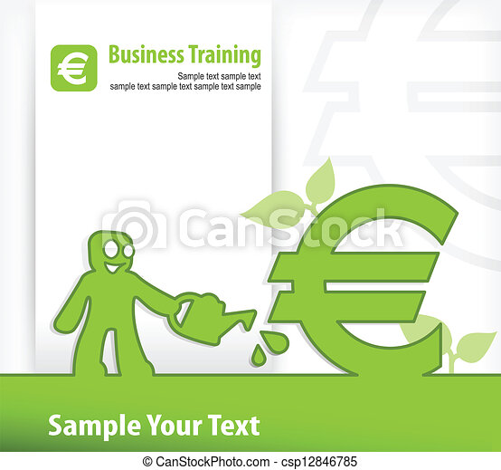 Human And Euro Signs Cartoon Human And Euro Sign Business Growth